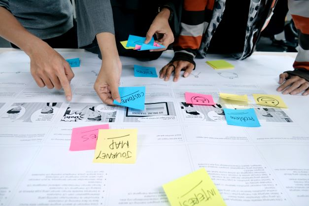 image of a group working on a design thinking project